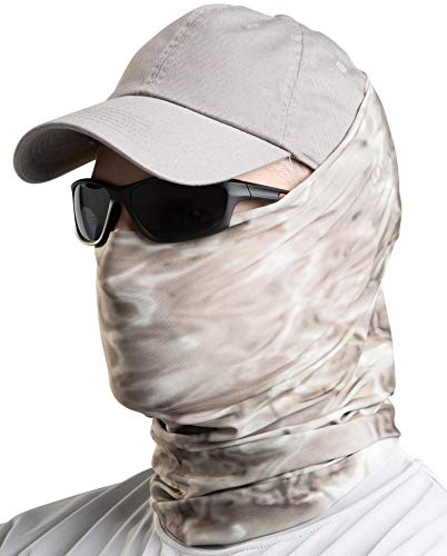 Aqua Design Fishing Hunting Masks Neck Gaiters for Men and Youth: UPF 50+ Sun Mask Protection: Camo Half Face Cover Balaclava Bandana: Pacific Sand: Size XL