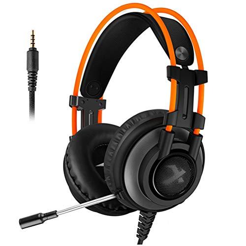 QKa Spiel-Kopfhörer-Qualitäts-LED-Schalter Spiele Kopfhörer Gaming Headset PS4, Over-Ear Mit Mic LED-Licht Noise Canceling Lautstärkeregler U 7.1 Surround Sound,Schwarz,3.5mmaudioport