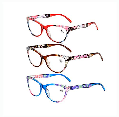 Reading Glasses 3 Pack Fashion Colorful Readers for Women Men Lightweight Presbyopia Eyeglasses (Red+Blue+Brown, +1.00)