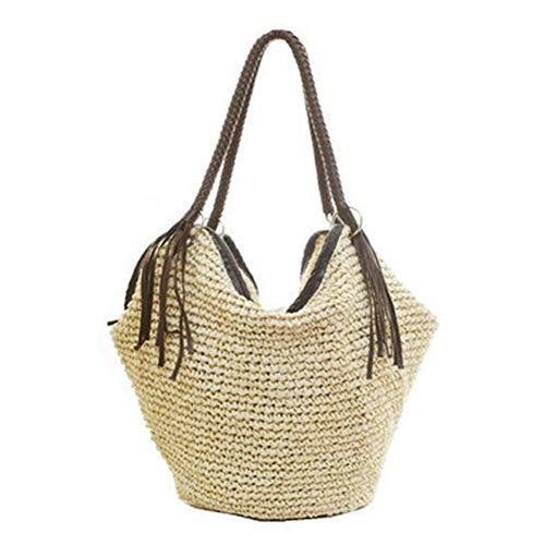 Rich-home Gewebte Tasche Umhängetasche Stroh Tasche Frauen Strandtasche große Kapazität Strand Eimer Tasche für Beach Party Vacation Casual