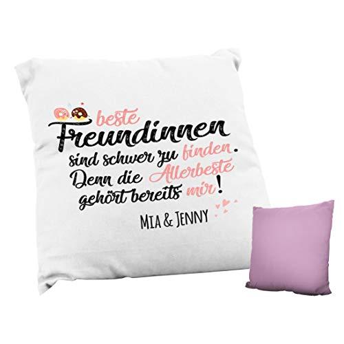 True Statements Kissen Beste Freundinnen sind schwer zu finden Wunschname - Personalisiertes Deko Kissen mit Wunsch-Text als Geschenk - Bezug inkl. Füllung - waschbar, rückseite rosa