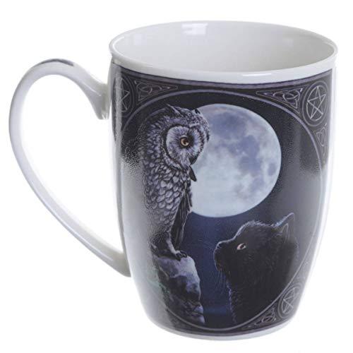 Tasse Becher Kaffeebecher mit Eule Schwarze Katze Purrfect Wisdom by Lisa Parker