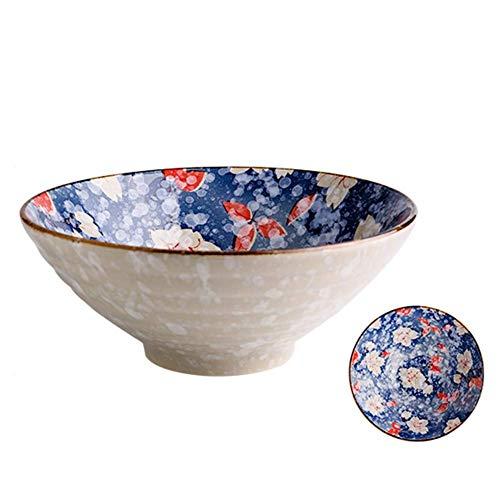 Soperas de cereales ensaladeras tazón de helado cuencos Frutero 8 pulgadas Soup Bowl Noodle Bowl cerámica creativa Vajilla uso en el hogar de materiales saludables, 10 Estilos (Color: G, Tamaño: 4PCS)
