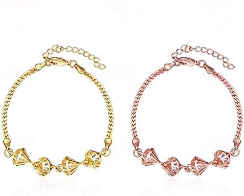 Stijlvolle Eenvoud Mode Handwerk Creatieve Gegraveerde Zirkoon Vrouwelijke Armband Diamond Hollowed Solid, Roségoud, DZ goud