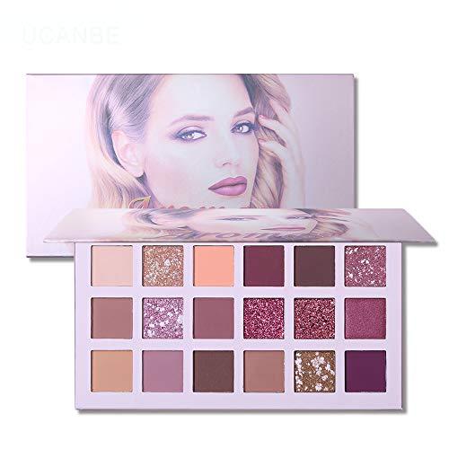 UCANBE La nouvelle palette de fards à paupières Nude 18 couleurs Matte Shimmer Glitter Multi-Reflective Shades Teint Ultra Pigmenté Maquillage Ombre à Paupières (A)
