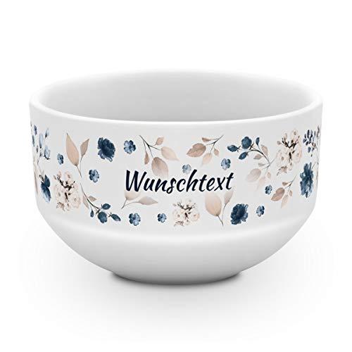 printplanet® - Müslischale mit Name oder Text Bedruckt - Müslischale Salatschale Obstschale Suppenschüssel selbst gestalten - Motiv: Floral