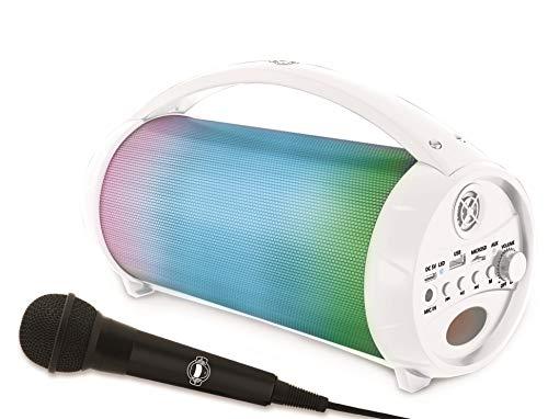 Lexibook- iParty-Enceinte Portable Bluetooth Micro, Stéréo, Effets Lumineux, sans-Fil, karaoké, Radio FM, USB, Carte SD, Batterie Rechargeable, Blanc, BTP585Z