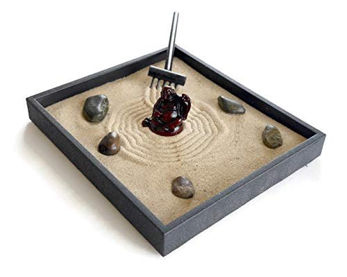 Handmade Zen Garden Kit Black Indoor Sand Relaxation Gift for Stress Relief