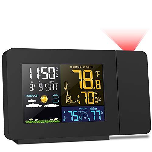 Kalawen Orologio Proiezione Soffitto Temperatura Esterna Interna con Sensore Esterno, Previsioni Stazione Meteo Sveglia Proiettore Dimmerabile 2-Allarmi LCD Display di Calendario Temperatura umidità