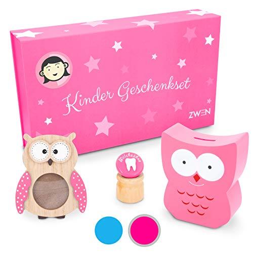 ZWEN Kinder Geschenkset für Mädchen & Jungen (groß) I Baby Erinnerungs-Box als Geschenk zur Geburt, Taufe, Kommunion I Taufgeschenk mit Spardose, Zahndose & Bilderrahmen Eule aus Holz (Pink/Mädchen)