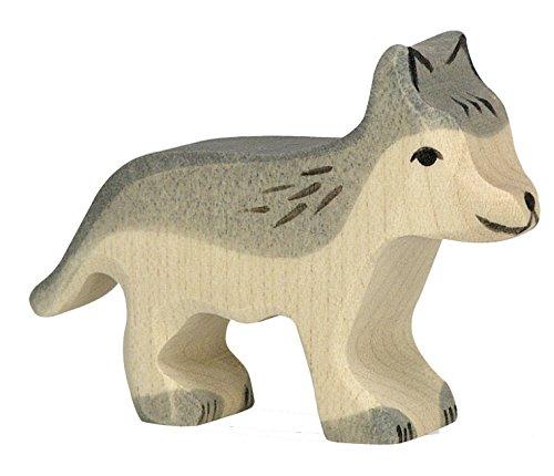 cama24com Wolf klein Holzfigur Holzspielzeug von Holztiger mit Palandi® Sticker
