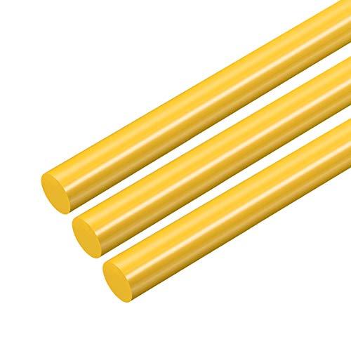 sourcing map 3Stk. POM-Rundstab, 10 mm Durchmesser, 50 cm Länge, Rundstab aus technischem Kunststoff Gelb