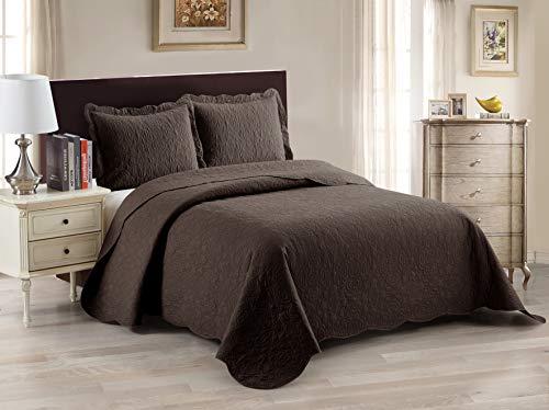 Luxury Home Collection, 2-teiliges Doppel-/Doppelbett, XL, übergroß, Ultraschall-geprägt, Tagesdecken-Set, massives Kaffeebraun