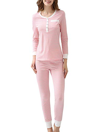 COLORFULLEAF Womens Cotton Pajama Set Christmas Striped Henley Pjs Fitted Pants (Pink, L)
