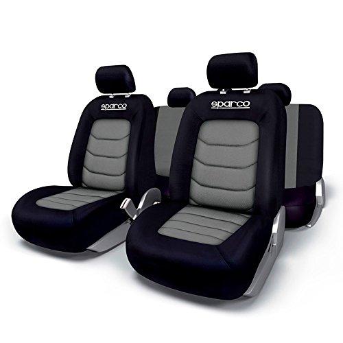 Sparco Spc SPC1019GR Set di Coprisedili per Auto, Compatibili con Airbag, Grigio/Nero