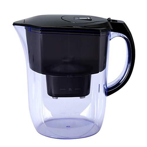 Acquafy Jarra de agua alcalina portátil de 3,8 litros, color negro, con filtro de carbón activado, mineralizado, alcalino, saludable, limpia y sin toxinas en minutos - PH más de...