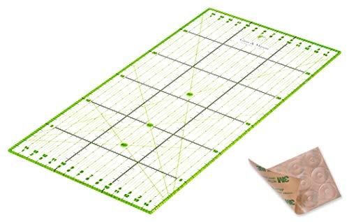 Regla de Patchwork 30 x 15 cm con Pegatinas Antideslizantes Gratuitas. Regla Universal Transparente con dimensiones en cm y ángulos