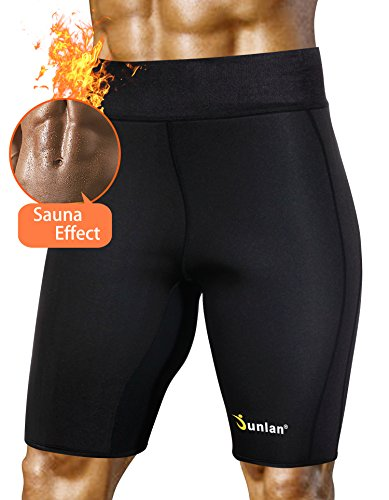 Mens Neoprene Exercise Shorts Sauna, Suit Shaper Yoga Workout Compression Gym Pants for Weight Loss No Zip (Black, XL)
