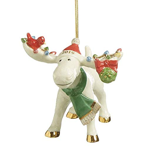 Lenox 2019 Under the Mistletoe with Marcel the Moose Ornament