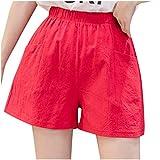 riou Pantalones Cortos de Lino para Mujer,Pantalones Cortos Casuales con Bolsillos de Cintura Elástica, para Fitness Running Yoga