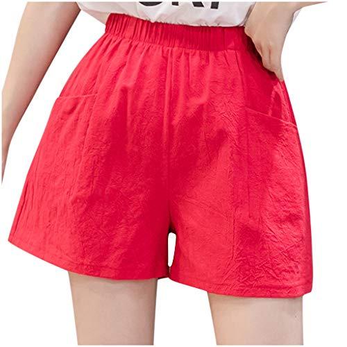 Pantalones Cortos de Playa con Bolsillo de Color sólido de Verano para Mujer, Pantalones Cortos de Cintura Alta de Verano para Mujer,Deportivos Pantalones Cortos cómodos para salón