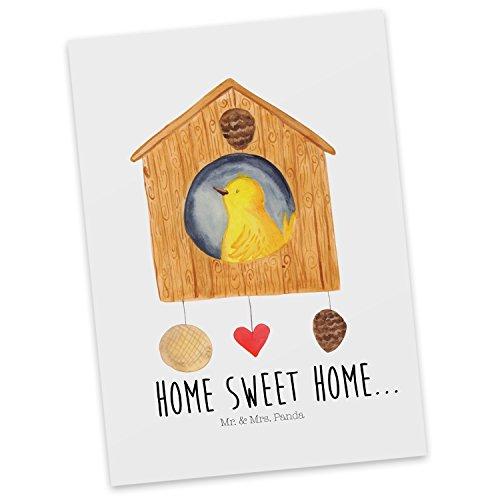 Mr. & Mrs. Panda Ansichtskarte, Karte, Postkarte Vogelhaus Sweet Home mit Spruch - Farbe Weiß