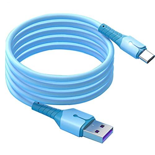 FeelMeet Tipo C Carga de Silicona líquida 2m Cargador Micro Cadena 5A Cable USB de Carga rápida de Cables de Datos con indicador de luz Azul para teléfonos móviles