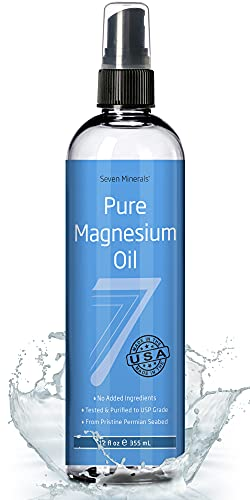 USP Grade MAGNESIUM OIL - BIG 12 oz - FREE eBook - Made in USA - SEE RESULTS OR MONEY-BACK - Best Cure for better Sleep, Leg Cramps, Restless Legs, Headaches, Migraines and more! by Seven Minerals