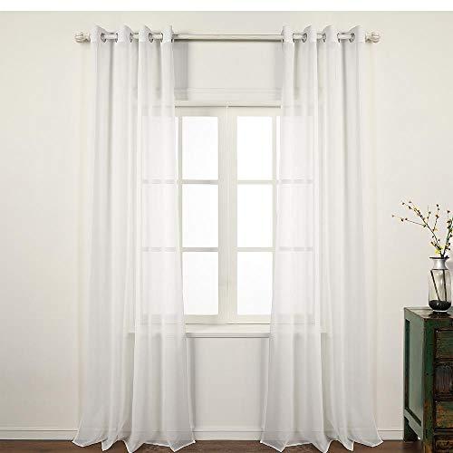 Pimpamtex Cortina translucida con 8 ollao (1 Unidad X 140x260) para salón, habitación y Dormitorio. Modelo Clara