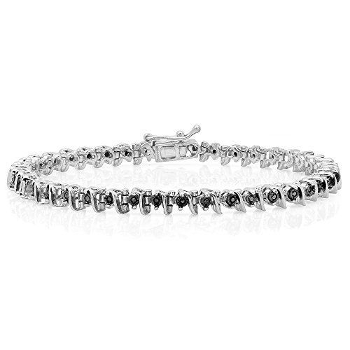 Dazzlingrock Collection 0.40 Carat (ctw) Round Black Diamond Ladies Tennis Bracelet, Sterling Silver