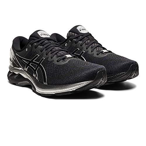 Asics Gel-Kayano 27 Platinum, Road Running Shoe Hombre, Black/Pure Silver, 40.5 EU