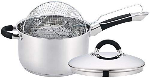 20 cm Chip Fryer Pan with Lid & Basket Stainless Steel Induction Hob Deep Cook Pot Cookware by Molly Malou