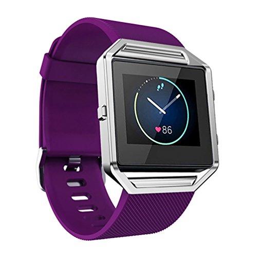 Correa de reemplazo deportiva en silicona para los relojes inteligentes de marca Fitbit Blaze, ajustable a la muñeca , 0.03 pounds, color morado, Informal