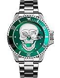 Reloj de pulsera para hombre con esfera de calavera en 3D, de acero inoxidable, con calendario de fecha