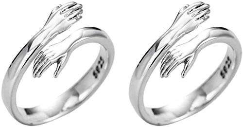 2Pcs Fashion Love Hug Rings, Adjustable 925 Sterling Silver Party Ring,Personality Open Ring Gift,Valentine's Day Ring for Women & Men