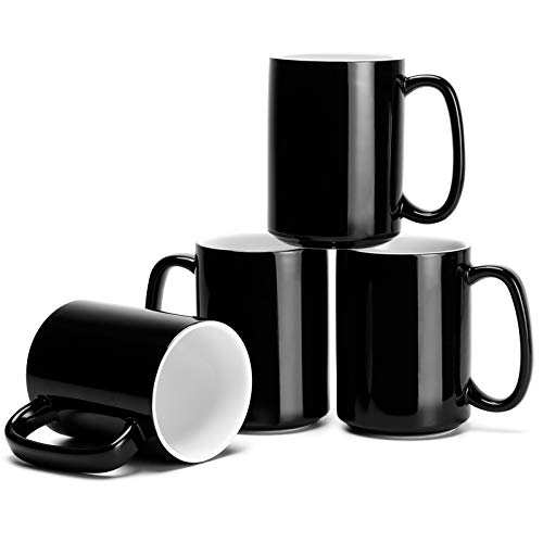 Porcelain Black Coffee Mugs Set of 4-15 Ounce Cups with Large Handle for Hot or Cold Drinks like Cocoa, Milk, Tea or Water - Smooth Ceramic with Classic Design