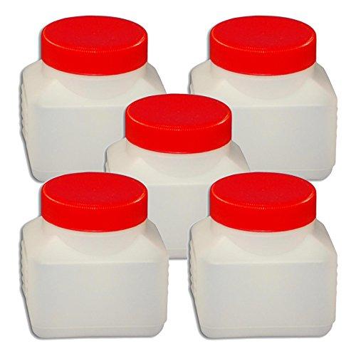 Wilai 5 x 250 ml Weithalsflasche mit Deckel Behälter PE-Flasche lebensmittelecht Plastikflasche