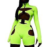 Mosiolya Mono sexy para mujer con cuello alto, con hebilla, cuello alto, manga larga, estilo motero, ropa de club., Verde brillante., L