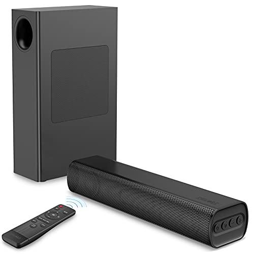 Soundbar mit kabellosem Subwoofer, Sakobs Soundbars für TV Klein 120W drahtlose Bluetooth 5.0 Lautsprecher , 2.1-Kanal Surround Soundsystem