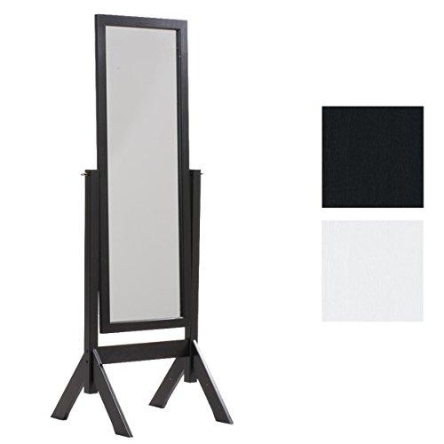 CLP Standspiegel Elvis aus Holz I Freistehender Spiegel im Landhausstil I Neigbarer Ganzkörper-Spiegel I erhältlich, Farbe:schwarz