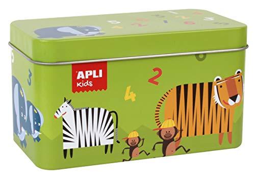 APLI Kids 14556 Animal Dominostenen spel in blikken doos