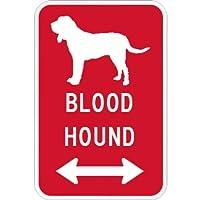 BLOODHOUND マグネットサイン レッド:ブラッドハウンド(小) シルエットイラスト&矢印 英語標識デザイン Water Resistant&UV