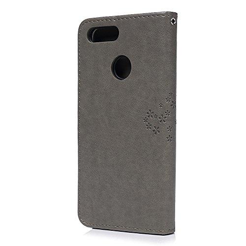 YOKIRIN Huawei Honor 7X Lederhülle Hülle Case für Huawei Honor 7X Flipcase Tasche Handyhülle Etui Eule Baum Muster PU Leder Schutzhülle Schale Kartenfächer Magnetverschluss Handyhalter Grau - 3