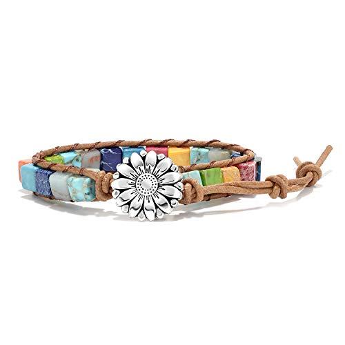 sedmart 7 Chakra Bracelets for Women with Real Stones Leather Wrap Healing Bead Bracelet Women Men Boho Friendship Jewelry… (Flower Button & Square Stone)