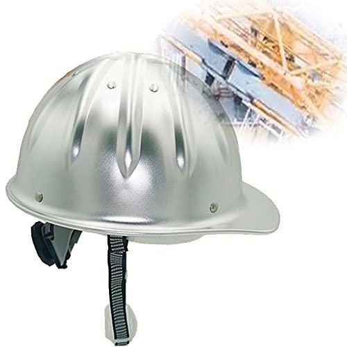 DDCHH Casco de Seguridad, Casco Grande de Aluminio de ala Ancha para Casco de Construcción, Casco Protector con Banda para el Sudor Y Cierre de Trinquete para La construcción,Silver