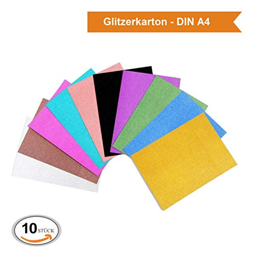ZADAWERK® Glitzerkarton - 340 g/m² - DIN A4-10 Farben - 10 Stück - Bastel-Set