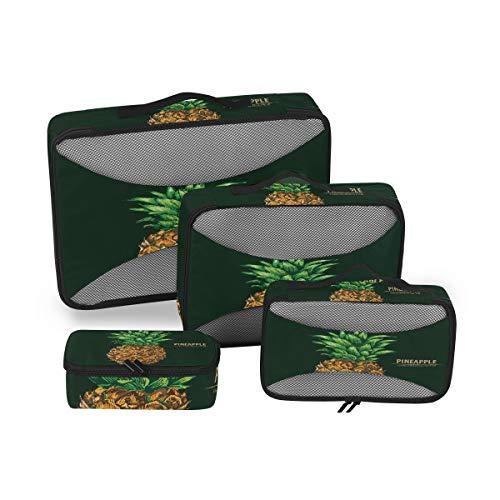 BIGJOKE Reise-Packwürfel 4 Set Tropische Ananas Zitat Leichtes Reisegepäck Zubehör Reise Packtaschen Organizer Aufbewahrungstasche