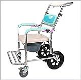 CLJ-LJ Silla de rehabilitación médica, silla de ruedas, silla de ruedas plegable de peso ligero de conducción médica, ajustable Champú ángulo del respaldo de baño WC Presidente de lavado de aluminio a