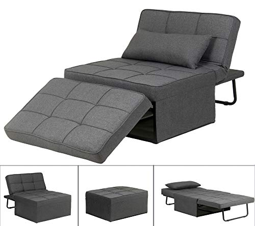 Ottoman Sofa Bed with Adjustable Headrest Convertible 4 in 1 Upholstered Sofa Bed Modern Chaise Lounge Folding Ottoman Sleeper Space Saver Guest Bed with Pillow for Living Room Bedroom Chair - Grey