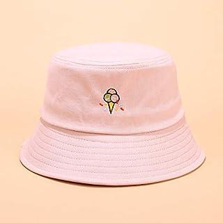 CHIC&TNK Men Women Hat Cute Fun Ice Cream Embroidery Fisherman Outdoor Leisure Sunshade Cap Bucket Beanies